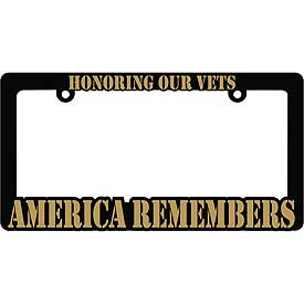 America Remembers Heavy Plastic License Plate Frame - HATNPATCH