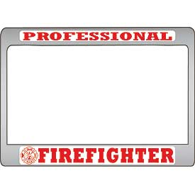 Professional Firefighter Metal Motorcycle License Plate Frame
