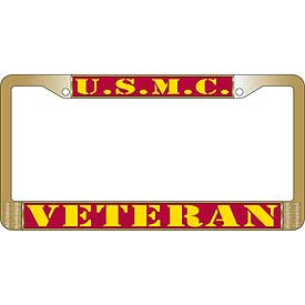 U.S.M.C. Veteran Brass Finish License Plate Frame