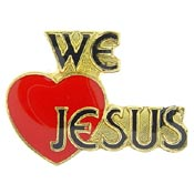 We Love Jesus Pin with Heart