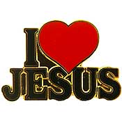 I Love Jesus Pin with Heart