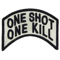 One Shot One Kill Rocker Tab Black/White Patch - HATNPATCH