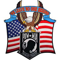 X-Large We Leave No One Behind US Flag and Eagle POW/MIA Patch - HATNPATCH