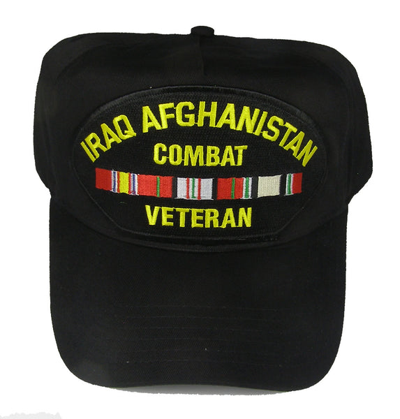 IRAQ AFGHANISTAN COMBAT VETERAN WITH RIBBONS HAT - HATNPATCH