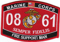 US Marine Corps 0861 Fire Support Man MOS Patch - HATNPATCH
