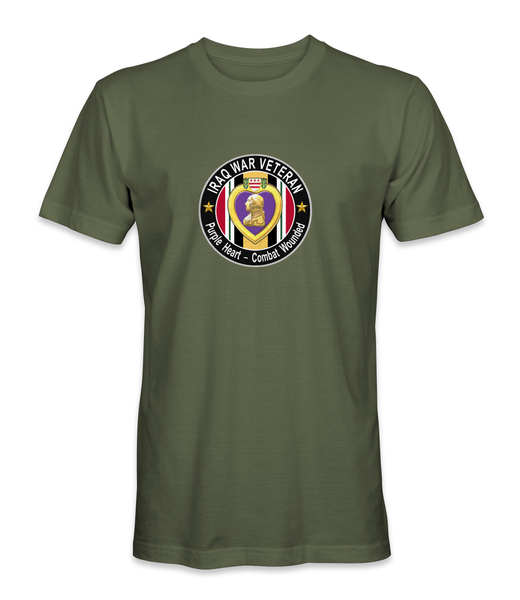 Iraq War Purple Heart Combat Wounded Veteran T-Shirt PHT