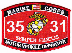 US Marine Corps 3531 Motor Vehicle Operator MOS Patch - HATNPATCH