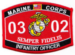 US Marine Corps 0302 Infantry Officer MOS Patch