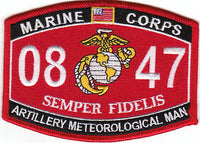 US Marine Corps 0847 Artillery Meteorological Man MOS Patch - HATNPATCH