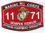 US Marine Corps 1171 Hygiene Equipment Operator MOS Patch