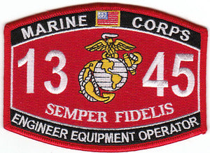 US Marine Corps 1345 Engineer Equipment Operator MOS Patch - HATNPATCH