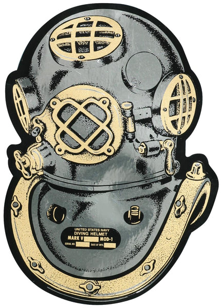 "Metallic Silver Diver Helmet Lg 5 1/2"" x 8"" Sticker - HATNPATCH"