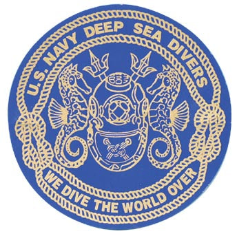 "Navy Deep Sea Diver Helmet 5 1/2"" Circle Sticker - HATNPATCH"