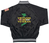 Vietnam Veteran Black Satin Jacket - HATNPATCH