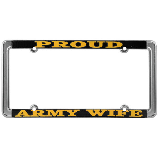 Proud Army Wife Thin Rim License Plate Frame - HATNPATCH