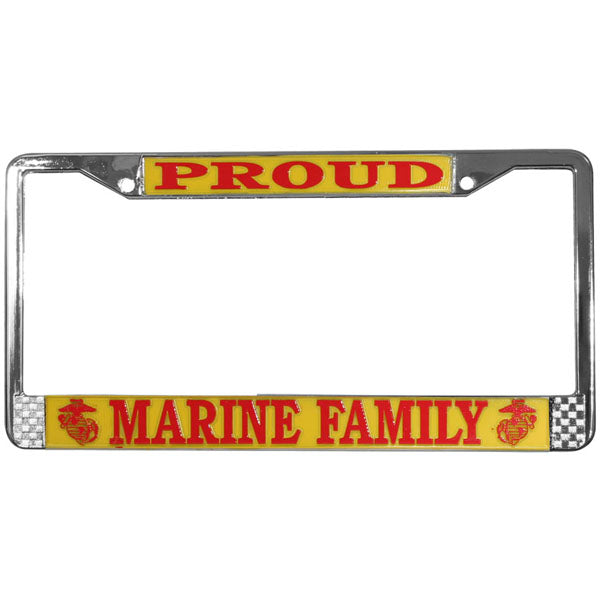 Proud Marine Family Metal License Plate