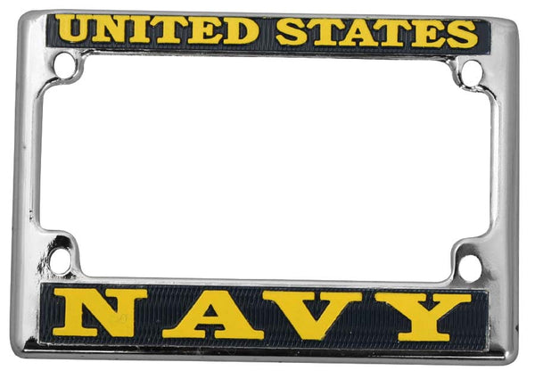 US Navy Metal Motorcycle Tag License Plate Frame - HATNPATCH