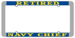 Retired Navy Chief Thin Rim License Plate Frame