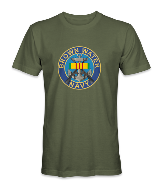 Brown Water Navy with M-16s Logo Vietnam T-Shirt - HATNPATCH