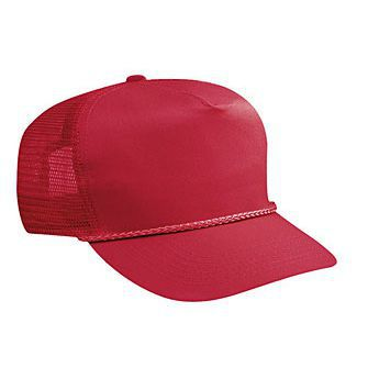 Blank Red Mesh-back Trucker Hat