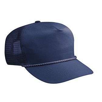 Blank Navy Blue Mesh-back Trucker Hat - HATNPATCH