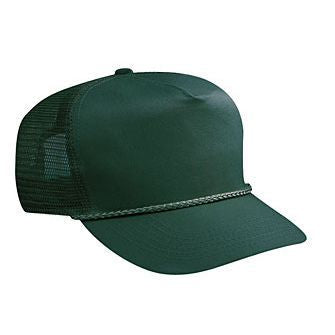 Blank Dark Green Mesh-back Trucker Hat