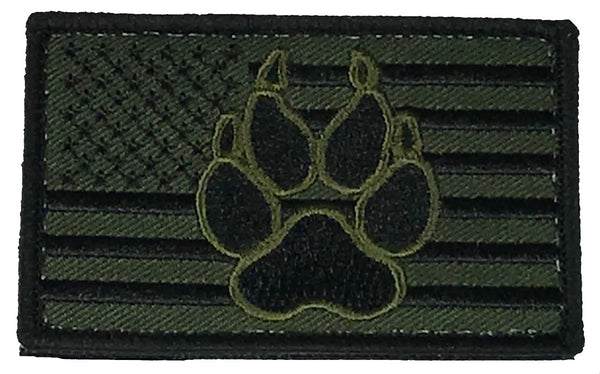 OD GREEN AMERICAN FLAG DOG PAW PATCH W/ HOOK AND LOOP BACKING - HATNPATCH