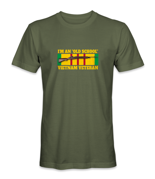 "I'm An ""Old School"" Vietnam Veteran Ribbon with M-14 T-Shirt - HATNPATCH"