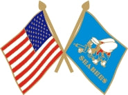 USA / SEABEE CROSSED FLAGS LAPEL HAT PIN