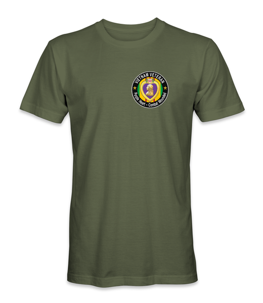 Vietnam Purple Heart with Vietnam Ribbon T-Shirt - Pocket Emblem PHT