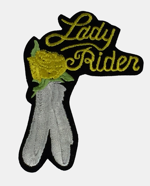 Lady Rider w/ Feathers Large Patch - Yellow - HATNPATCH