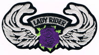 Lady Rider w/ Rose and Wings Patch - Purple - HATNPATCH