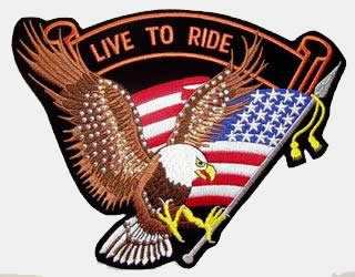 LIVE TO RIDE STUDDED EAGLE PATCH