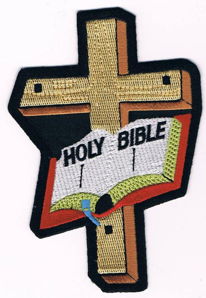 Holy Bible Open With Cross Patch - HATNPATCH