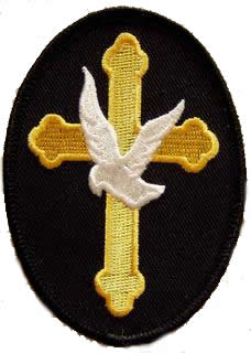 Christian Cross with Dove Oval Patch - HATNPATCH