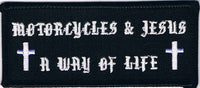 Motorcycles And Jesus A Way Of Life Patch with Crosses - HATNPATCH