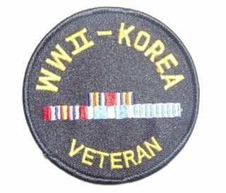WWII/KOREA VETERAN W/RIBBONS ROUND PATCH