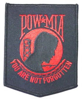 POW/MIA BLK/RED - 3X4 PATCH - HATNPATCH