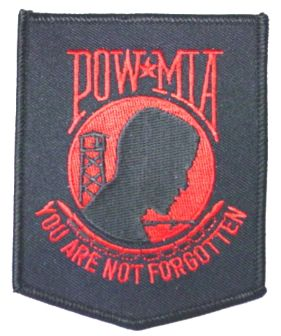 POW/MIA BLK/RED - 3X4 PATCH