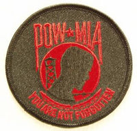 POW/MIA ROUND-RED PATCH