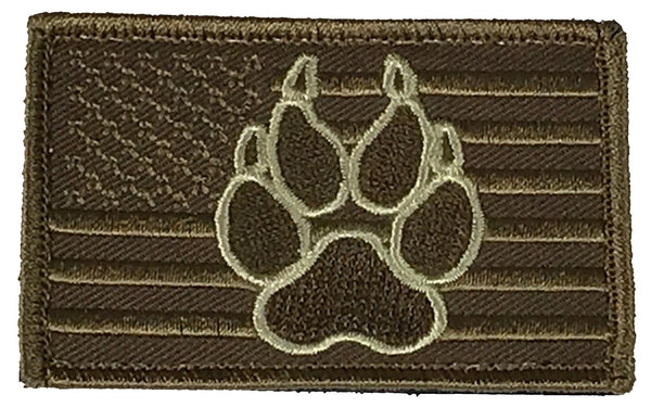 DESERT TAN AMERICAN FLAG DOG PAW PATCH W/ HOOK AND LOOP BACKING