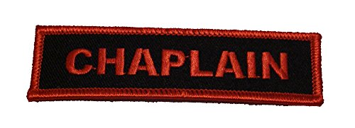 CHAPLAIN PATCH Red letters on black background - Veteran Owned Business - HATNPATCH