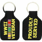 WWII WORLD WAR TWO 2 VETERAN PROUDLY SERVED CAMPAIGN RIBBONS KEY CHAIN - HATNPATCH