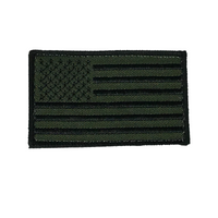 OLIVE DRAB OD GREEN SUBDUED AMERICAN FLAG PATCH HOOK AND LOOP BACK STARS STRIPES - HATNPATCH
