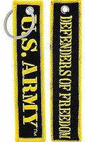 US ARMY DEFENDERS OF FREEDOM KEY CHAIN SOLDIER VETERAN RETIRED ACTIVE HOOAH - HATNPATCH