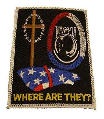 POW MIA WHERE ARE THEY W/ US FLAG AND CROSS PATCH PRISONER WAR MISSING ACTION