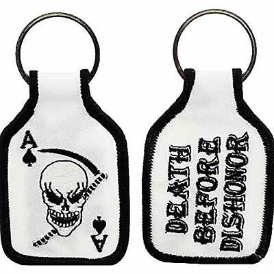 ACE OF SPADES CARD SKULL SICKLE DEATH BEFORE DISHONOR KEY CHAIN VIETNAM VETERAN