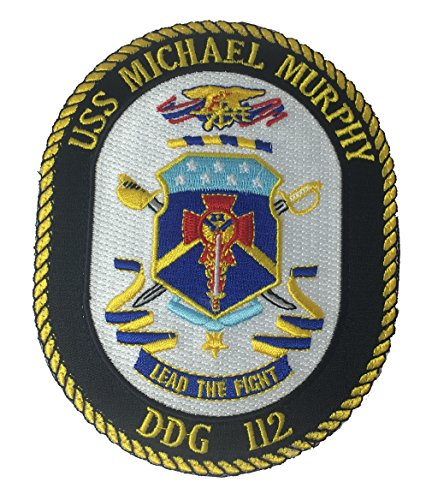 USS MICHAEL MURPHY DDG-112 LEAD THE FIGHT Oval Hook/Loop Back Patch - Standout Colors - Veteran Owned Business.