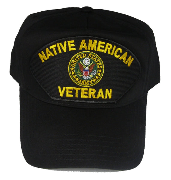 US ARMY NATIVE AMERICAN VETERAN HAT WITH ARMY CREST - Black - Veteran Owned Business