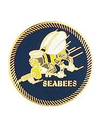 Navy Seabees Round Pin - HATNPATCH